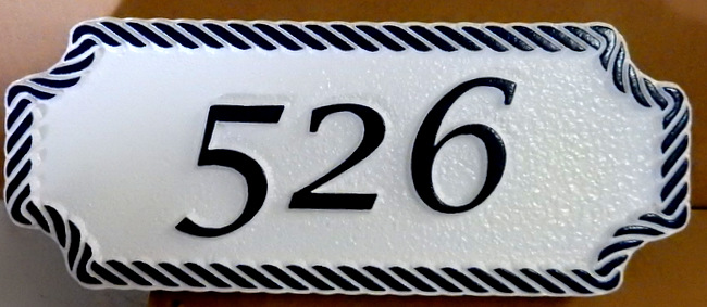 I18882- House Address Number Sign, with Raised Number and Rope Border