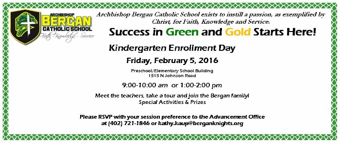 KINDERGARTEN ENROLLMENT DAY