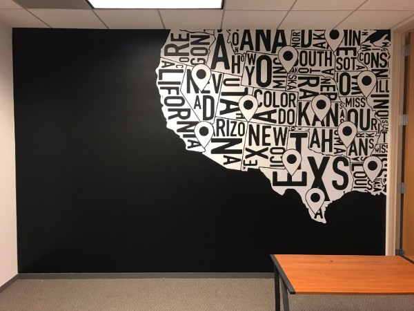 Office Wall Map Murals Orange County CA