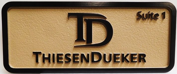 SA28821 - Carved HDU Sign for  ThiesenDueker Company,   2.5-D raised Relief Artist-Painted