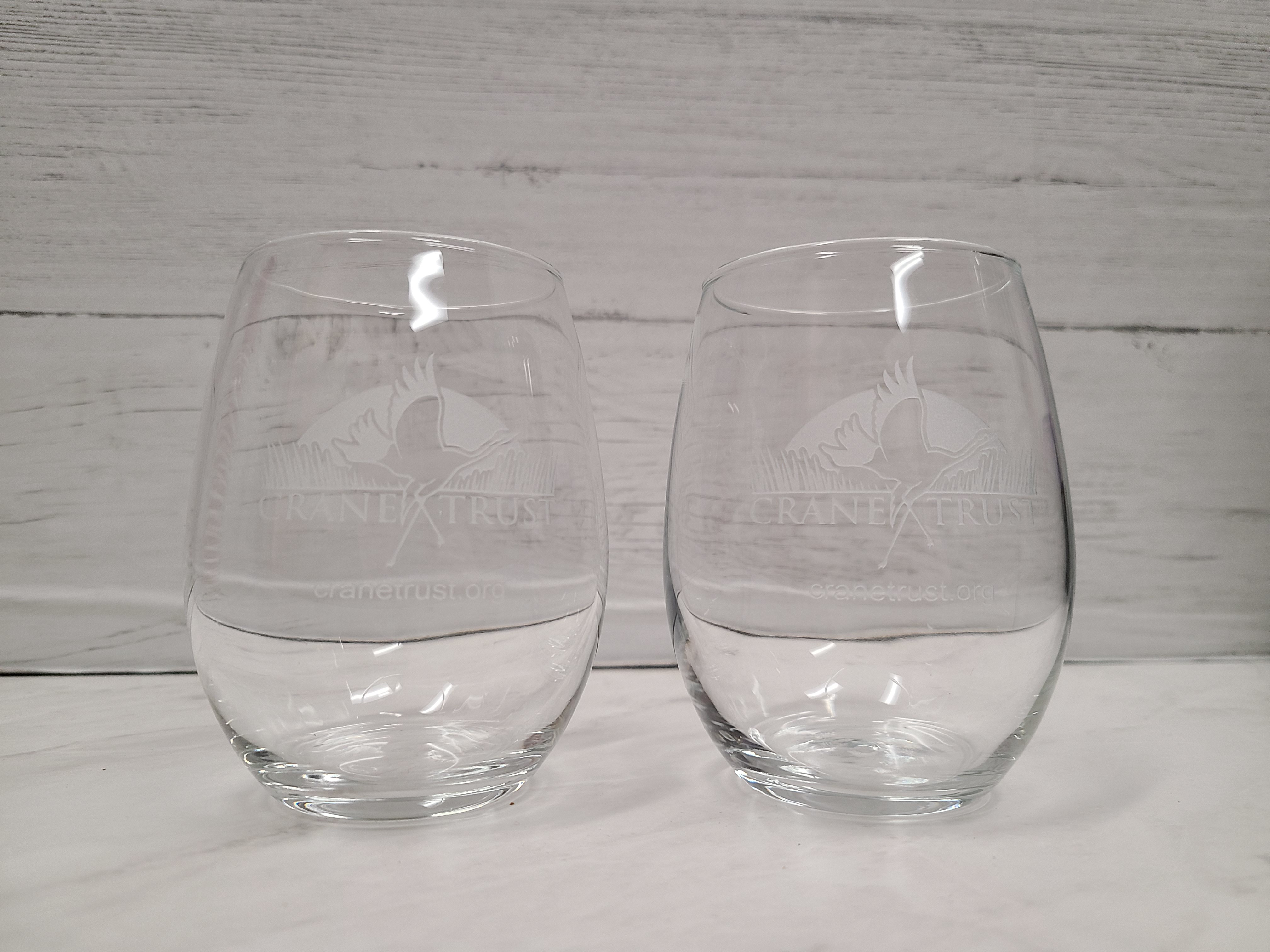 15 oz Stemless Wine Glass Etched with the Crane Trust Logo