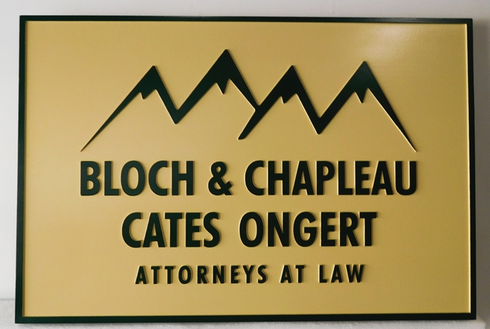 A10185 - Gold, Silver and Black Carved, HDU Sign For Attorneys At Law Featuring Stylized Mountain View Logo