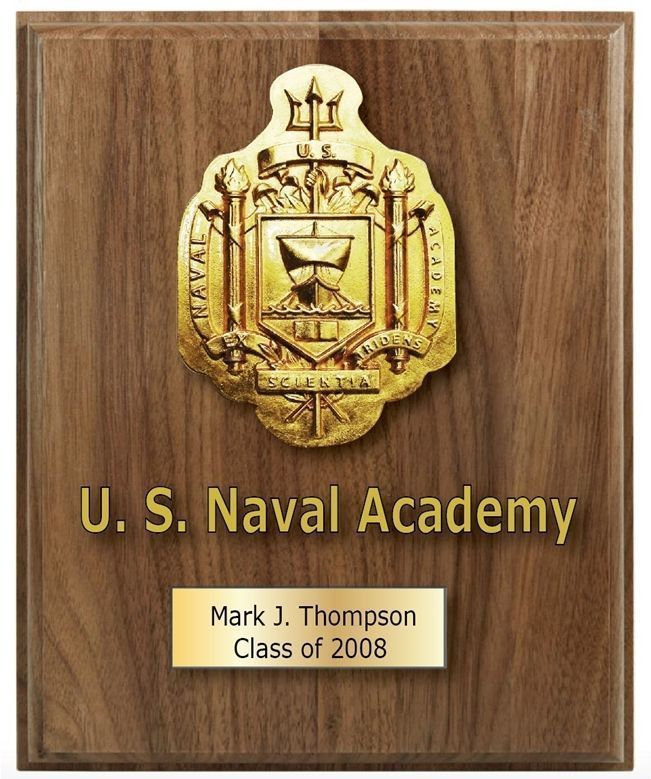 V31388A -  Carved 3D US Naval Academy at Annapolis Personalized  Wall Plaque, Mounted on  Walnut Wood