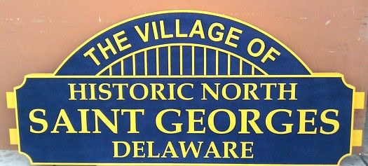 F15030 - Carved Wood  Welcome Entrance Sign for St.Georges Village