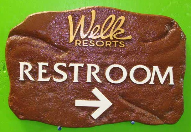 "T29419 - Hand-Carved Sculptured ""Rock"" Restroom Sign for Lawrence Welk Resort"