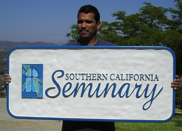 M5186 - Carved HDU Sign for Southern California Seminary with Satined Glass Window with Light.