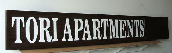 KA20616 - Carved and Sandblasted HDU Tori Apartments Sign