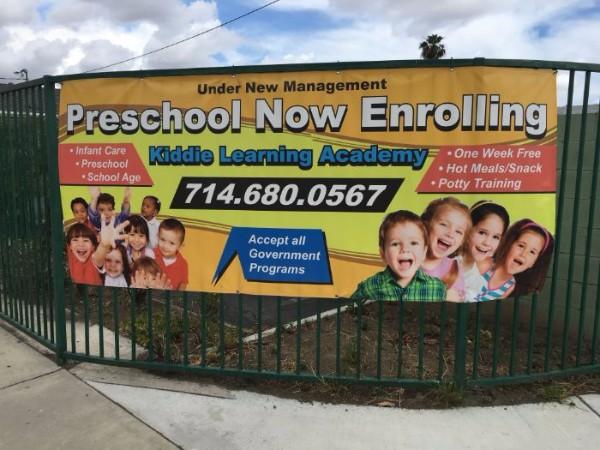 Fence banners for preschools in Fullerton CA