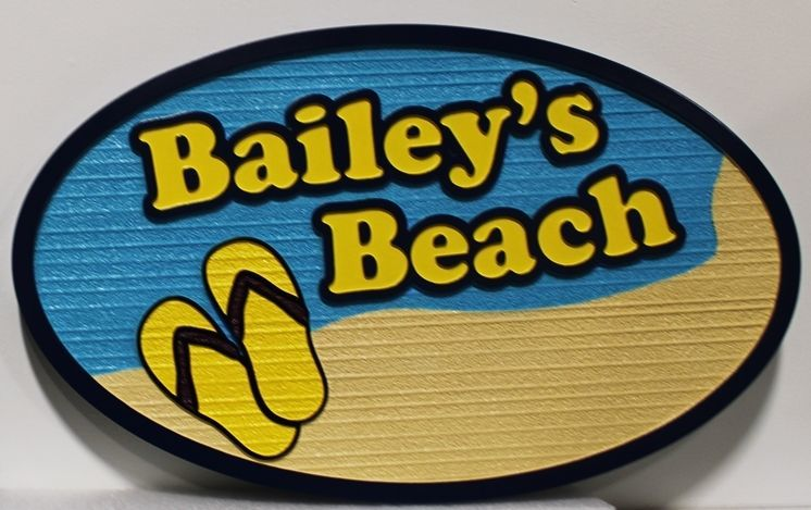 "l21101 - Carved and Sandblasted Wood Grain HDU  Beach House Sign ""Bailey's Beach"", with a Beach and a Pair of Sandals as Artwork"