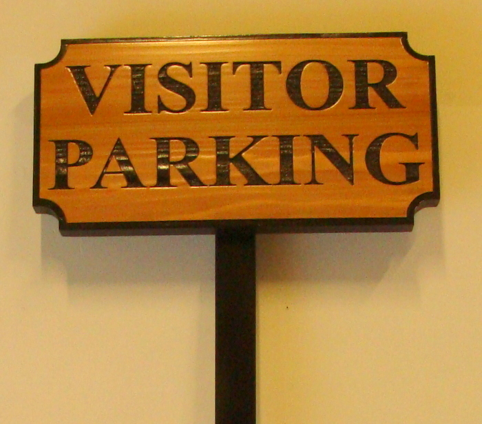 "KA20692 - Carved Cedar Wood ""Visitor Parking"" Sign with Iron Post"