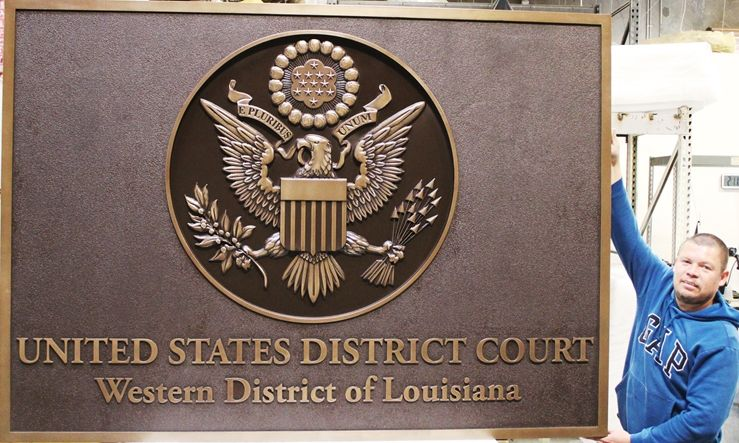 FP-1082 - Carved Wall Plaque of theSeal of the US District Court, Western District of Louisiana, 3-D Brass-Platewd with Rectangular Base