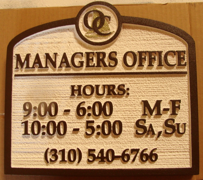 KA20505 - Custom Sandblasted  Apartment Managers Office Sign with Hours and Phone Number