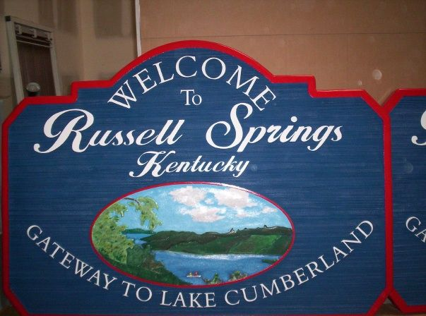 F15210 - Carved Welcome Sign to City of Russell Springs, Kentucky