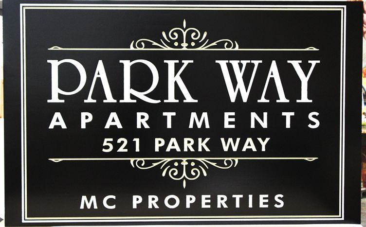 "K20302 -  Engraved High-Density-Urethane (HDU)  Entrance Sign for the ""Park Way Apartments"""