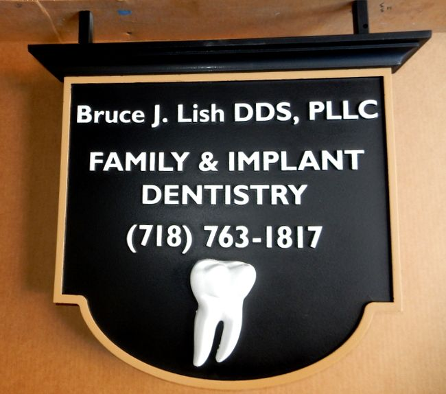 BA11624- Carved Hanging HDU Sign for Family and Implant Dentistry with Carved 3D Image of Molar Tooth