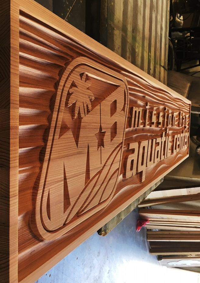 GB16130 - Carved and Sandblasted  Redwood Sign was  for Mission Bay Aquatic Center