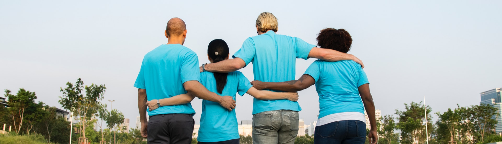 People in Blue T-Shirts