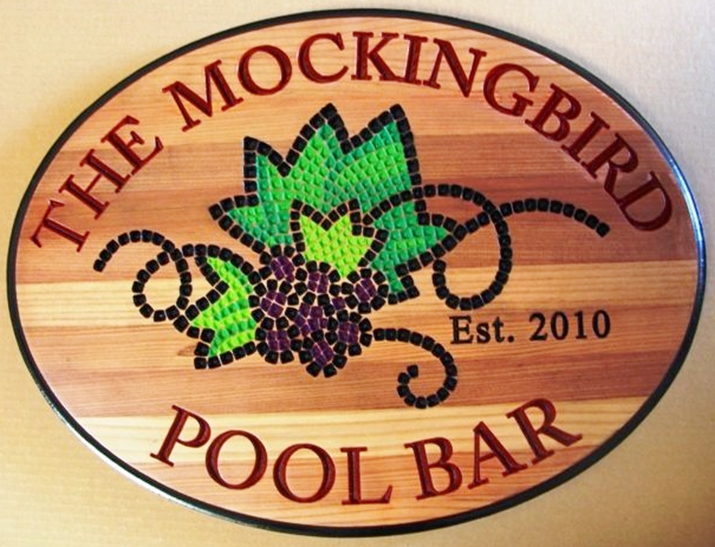 GB16815 - Carved Western Red Cedar Sign  for The Mockingbird Pool Bar, with a Stylized Grape Cluster as Artwork