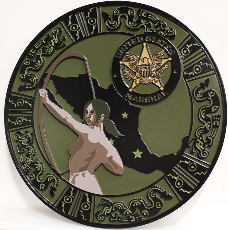 PP-3325 - Carved HDU Plaque with Map of Mexico, Archer, Aztec Serpents, and a US Marshal Badge as Artwork