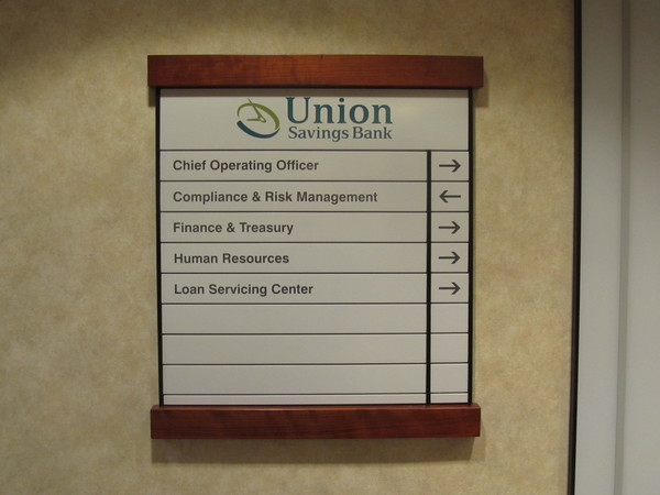 Interior Wall Mounted Floor Level Directional Signage, Inter-Changeable, Colored Panels with Cherry Wood Trim