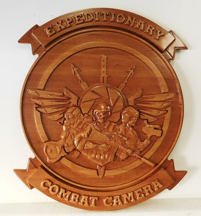 V31281 -- Carved Mahogany 3-D Plaque of the Crest  US Navy's  Expeditionary Combat Camera Unit