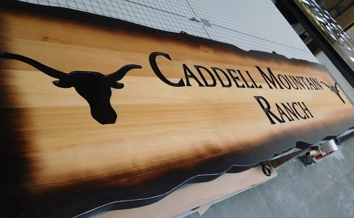 """Q24952- Engraved Western Red Cedar Entrance Sign for the """"Carmel Mountain Ranch""""  (side view)"""