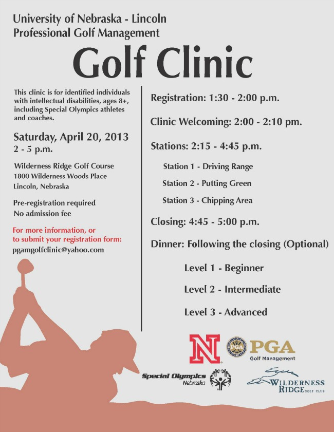 UNL Offers Free Golf Clinic for SONE Athletes and Coaches