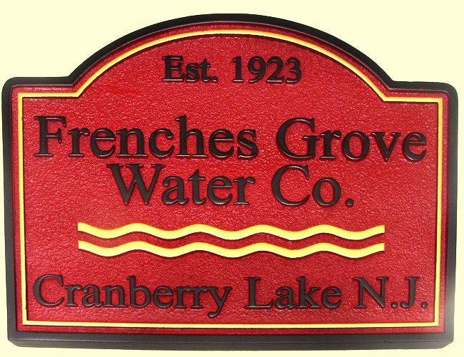 SA28546 - Carved and Sandblasted, Sandstone-Texture Sign for Water Company, with  Water Waves