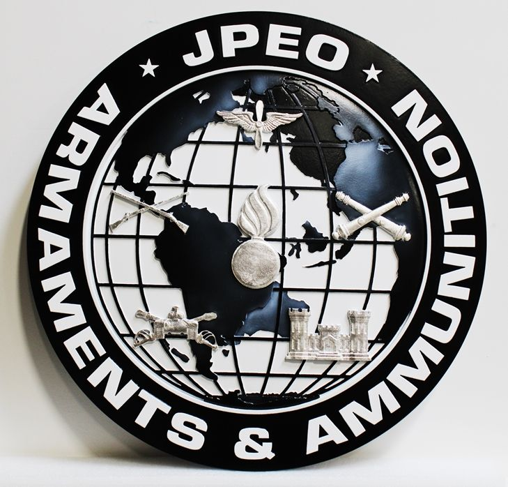 IP-1872 - Carved Plaque of the Seal of the Joint Program Executive Office (JPEO), Armaments & Munitions, 3-D Artist-Painted with Silver Leaf