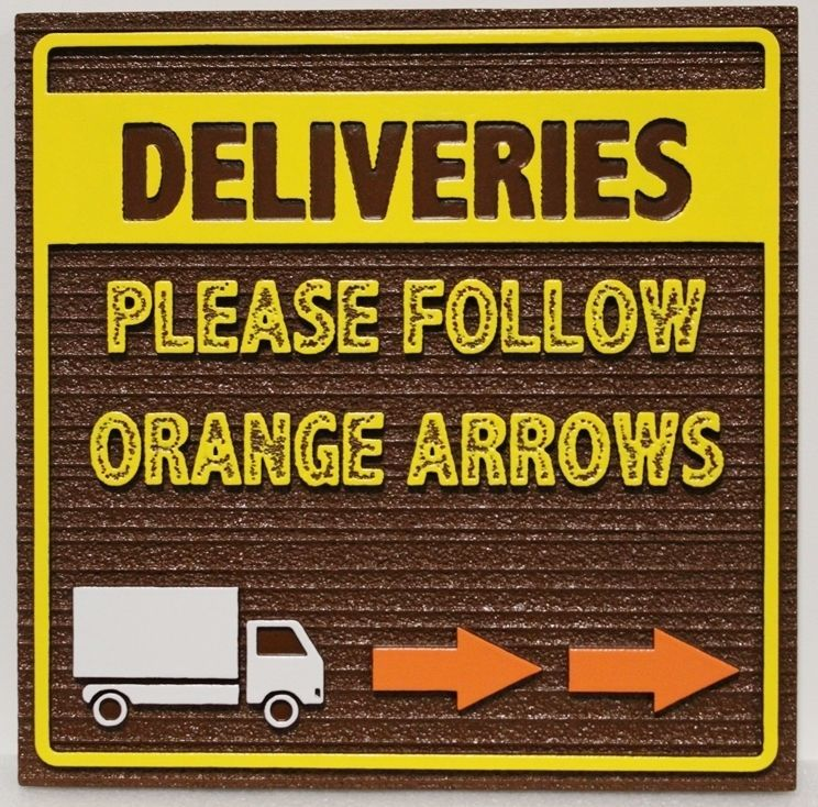 Q25067 - Carved 2.5-D and Sandblasted Wood Grain Sign for Deliveries