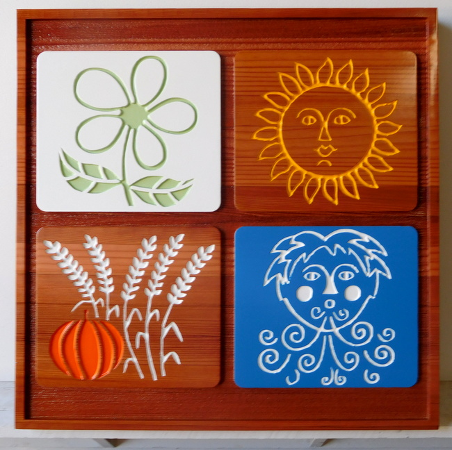 M3042 - Carved California Redwood Sign for the 4 Seasons: Spring Flower, Summer Sun, Autumn/Fall Harvest Pumpkin, Old Man Winter, made for a Garden Nursery (Galleries 28 and 16A)