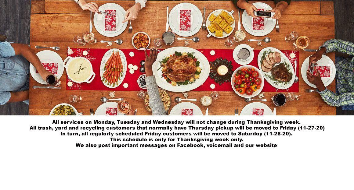 2020 Thanksgiving Schedule
