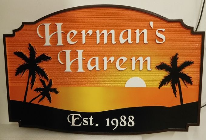 "L21223 - Seaside Residence Sign, ""Herman's Harem"" featuring an Ocean Sunset and Silhouetted Palm Trees"