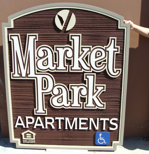 K20149 - Entrance Sign for Market Place Apartments, Sandblasted Wood Grain Urethane (HDU)