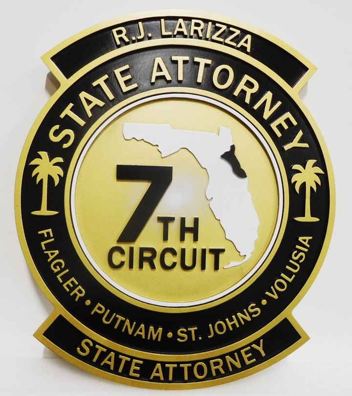 GP-1430 - Carved Plaque of the Seal of a State Attorney, 7th Circuit Courts, Florida, 2.5-D Raised Relief, Artist-Painted
