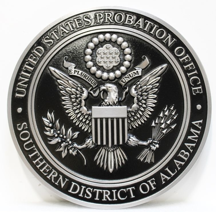 FP-1530 - Carved 3-D Aluminum-Plated HDU Plaque of theSeal of the United States Probation Office, Southern District of Alabama