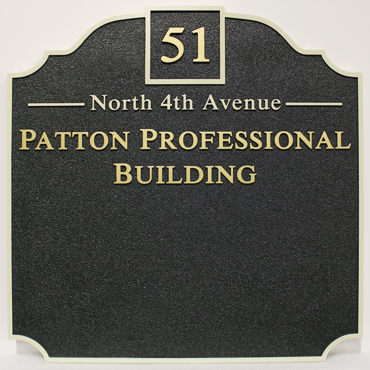 C12028 -  Carved High-Density-Urethane (HDU) Address and Directory Sign for the Patton Professional Building