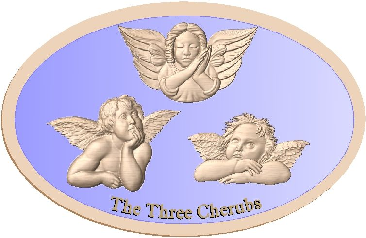 D13370 - Three Cherubs carved bas-relief maple natural finish