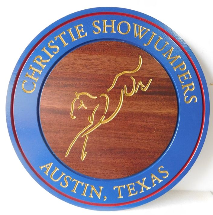 P25009 - Carved  2.5-D Mahogany  Sign for Christie Showjumpers