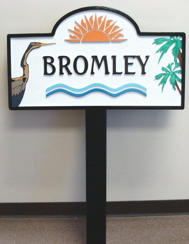 L21632 -  Carved and Sandblasted 2.5-D HDU Coastal Residence Owner's Name Sign, with Crane, Palms, and Sun.