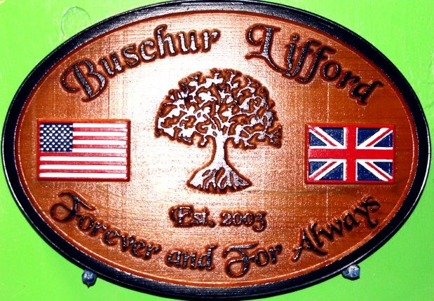 """N23066 - Custom Carved  Family Name Wall Plaque, with """"Tree of Life"""" and British and American Flags"""