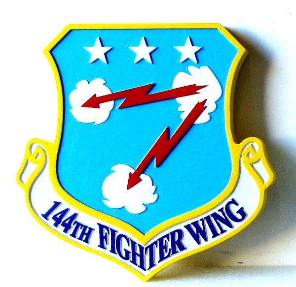V31585 - Carved Wooden Wall Plaque of the Shield and Crest of the 144th Fighter Wing of the USAF
