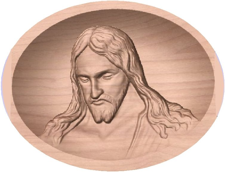 D13350 - Carved 3D Plaque, Head of Jesus Christ