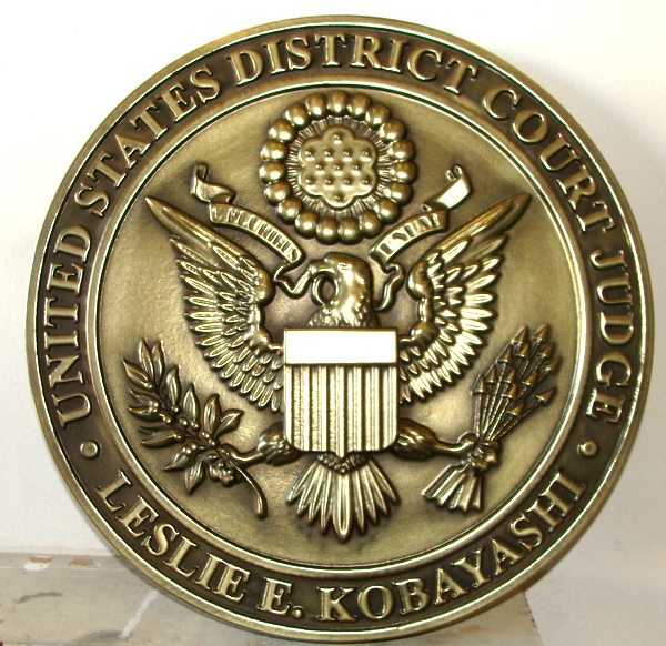 M7112 - Brass 3D Wall Plaque for US District Court, with Judge's Name