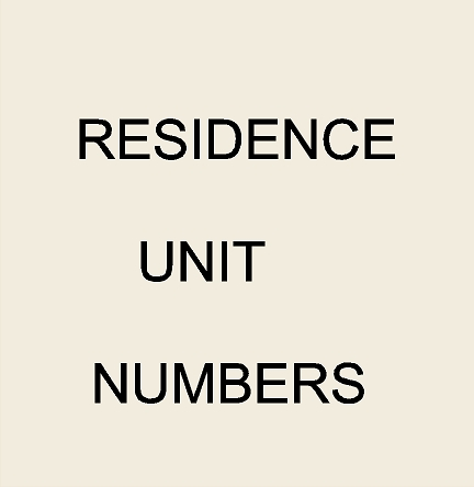 7. - KA20850 - Residence Unit Number and Address  Signs