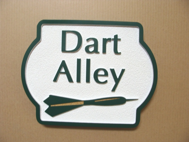 "YP-4440 - Carved ""Dart Alley"" Plaque,  Artist Painted"