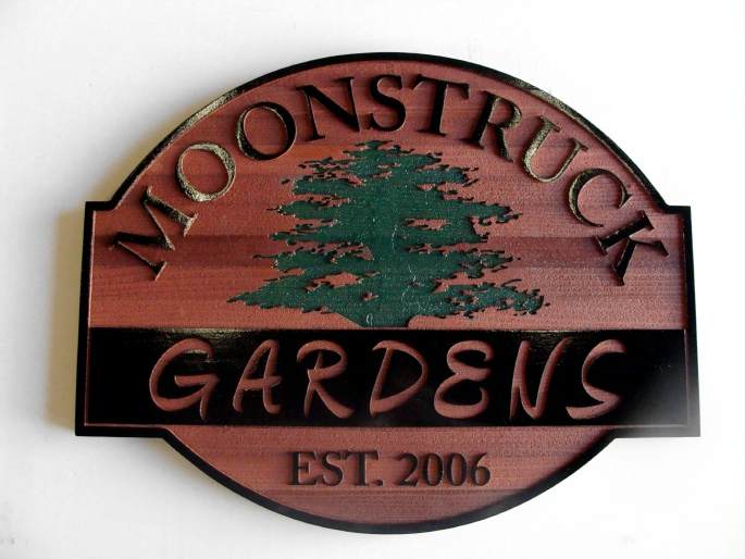 K20105 - Carved Wood (Redwood) Sign for Moonstruck Gardens with Carved Engraved Tree