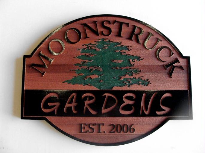 K20105 - Carved Wood (Redwood) Sign for Moonstruck Gardens with Carved Engraved Tree