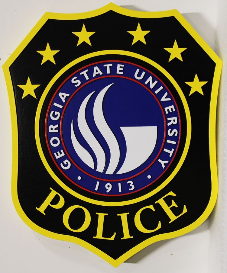 PP-1549 - Carved 2,5-D Multi-Level Relief HDU Plaque of the Seal of the Georgia State University Police Department