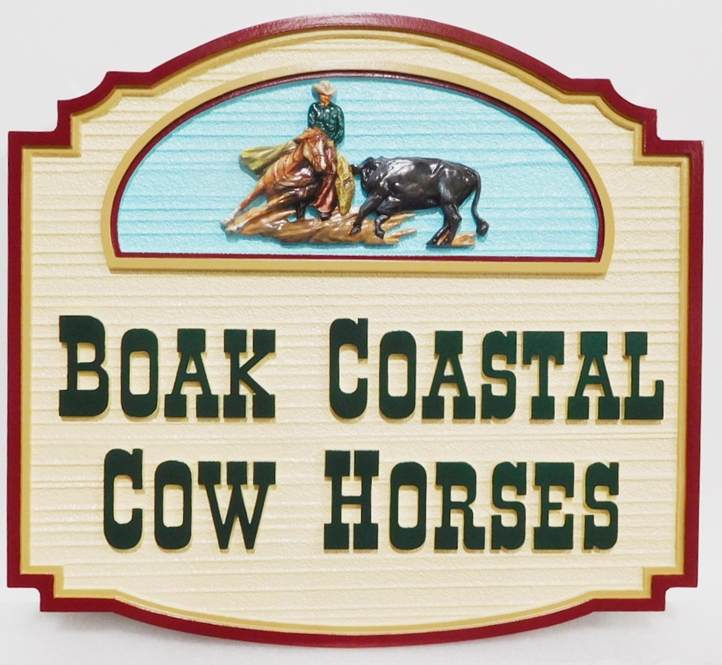 O22313 - Carved HDU Entrance Sign for Boak Coastal Cow Horses,  3-D Artist-Painted with Cowboy Mounted on Cutting Horse as Artwork